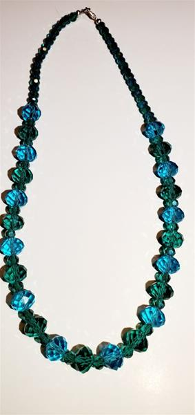 Aqua and Teal Czech Crystal Necklace