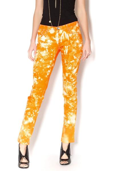 Bright Orange Stretch Jeans
