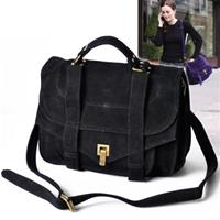 Black Suede Messenger Fold Over Bag