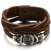 Brown Titanium Leather Bracelet