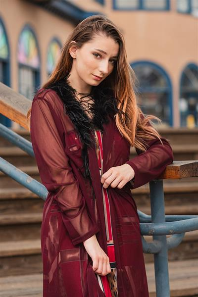 Burgundy Wine Sheer Jacket