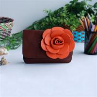 Chocolate Brown Retro Floral Clutch