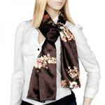 Chocolate Brown Floral Scarf
