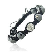 Crystal Fireball with Faceted Hematite Shambala Bracelet