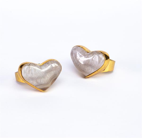 Might Heart Agate White Gradient Ring