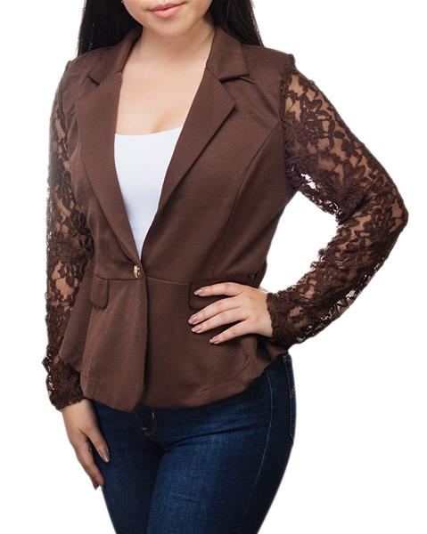 Fall Brown Button Jacket with Lace Sleeves