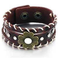 Genuine Leather Bracelet with Flower