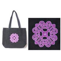 Handcrafted Purple Embroidered Tote Bag