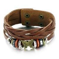 Leather Bracelet With Butterfly Charm
