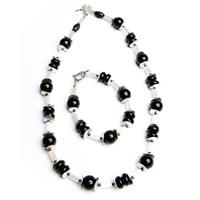 Black Onyx and White Tubes Necklace