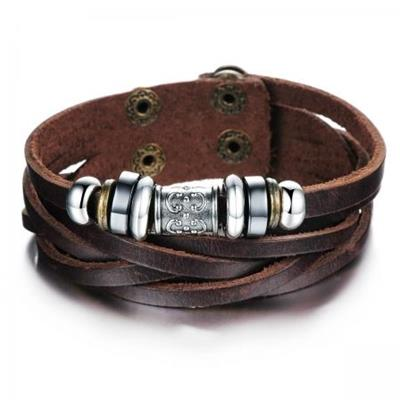 Brown Leather Bracelet with Silver