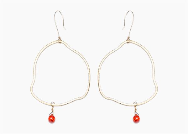 Brushed Gold Circle Earrings with Red Stone