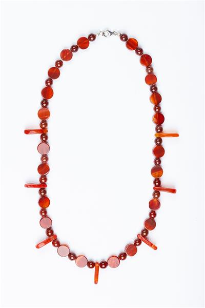 Coral Agate Handcrafted Necklace