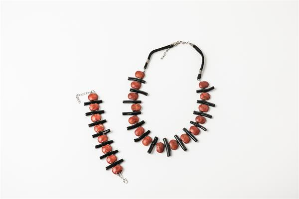 Deep Coral Colored Earthy Necklace Set