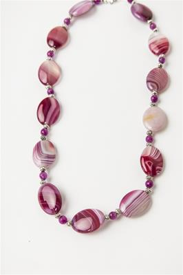 Deep Pink and Magenta Stone Necklace