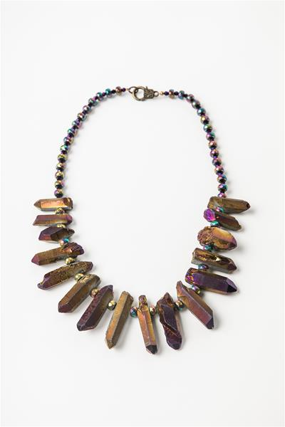 Electro-plated Handcrafted Quartz Necklace